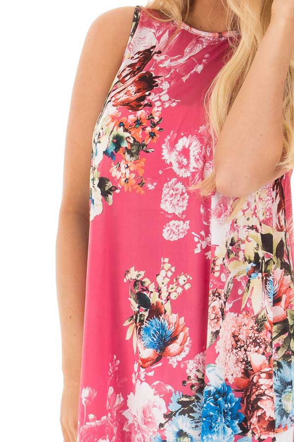 Dusty Pink Slinky Floral Print Sleeveless Tunic detail