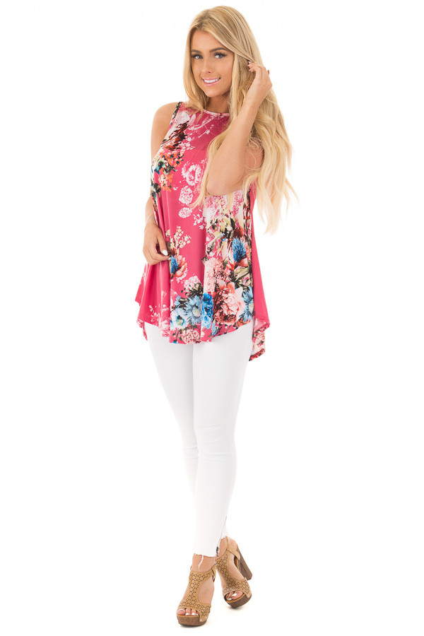 Dusty Pink Slinky Floral Print Sleeveless Tunic front full body