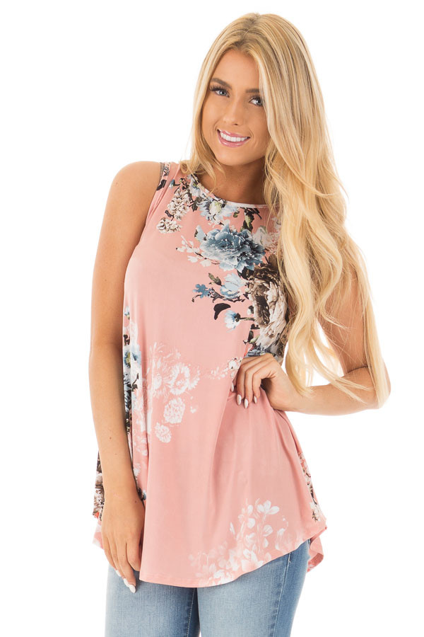 Blush Slinky Floral Print Sleeveless Tunic front close up