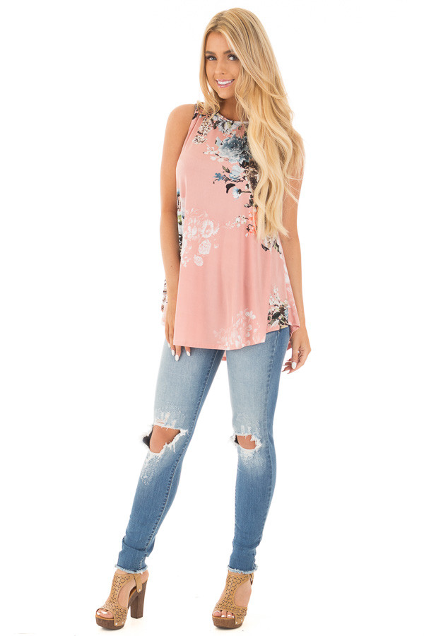 Blush Slinky Floral Print Sleeveless Tunic front full body