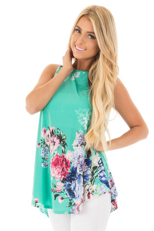 Aqua Slinky Floral Print Sleeveless Tunic front close up