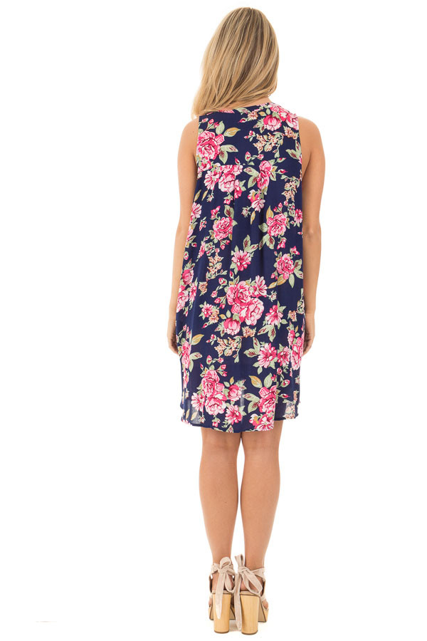 Navy Floral Tank Dress with Keyhole Front and Crochet Detail back full body