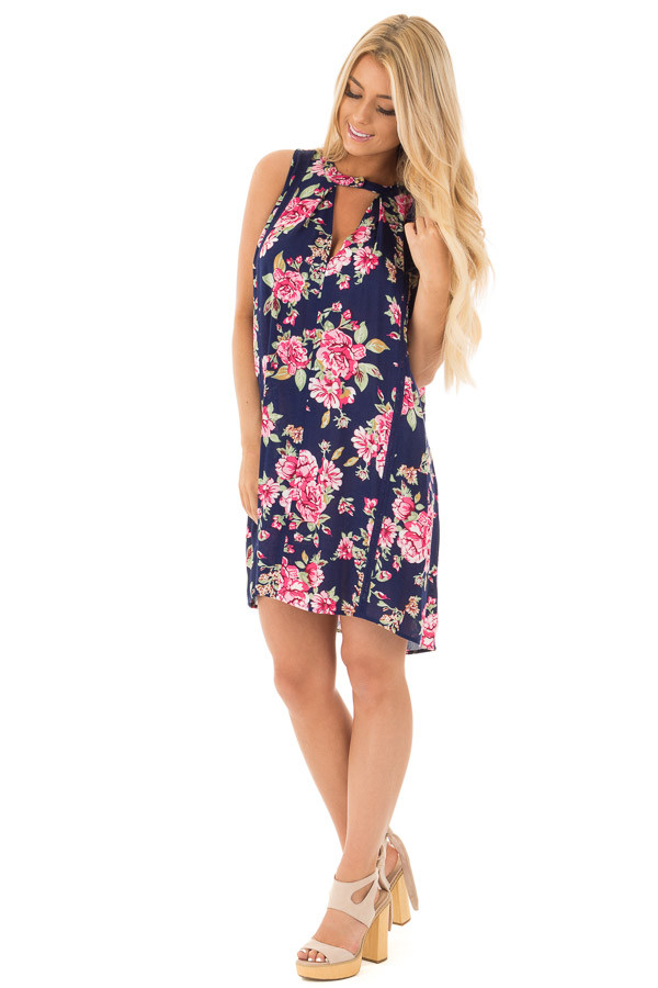 Navy Floral Tank Dress with Keyhole Front and Crochet Detail front full body