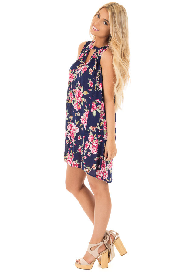 Navy Floral Tank Dress with Keyhole Front and Crochet Detail side full body