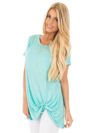 Mint Short Sleeve Tunic Top with Knot Twist Detail front close up