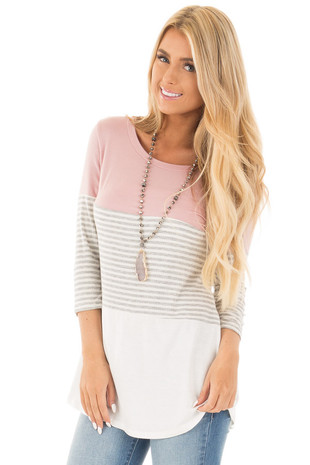 Mauve and Ivory Tee with Solid and Striped Color Blocks front close up