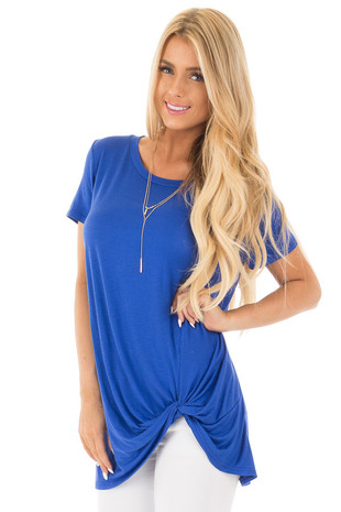 Royal Blue Short Sleeve Tunic Top with Knot Twist Detail front close up