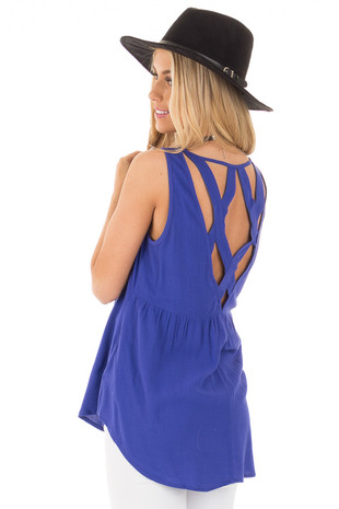 Royal Blue Tank Top with Criss Cross Band Back back side close up