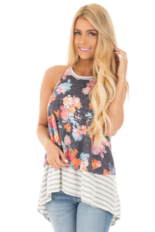 Navy Floral Knit Tank with Heather Grey Striped Contrast front close up