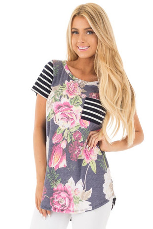 Navy Floral and Stripes Short Sleeve Top with Pocket front close up