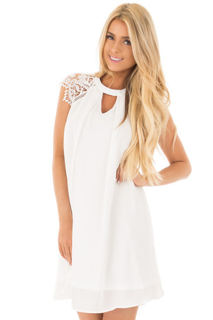 Off White Chiffon Dress with Sheer Lace Cap Sleeves front close up