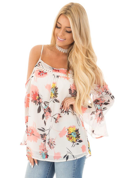 Ivory Floral Print with Swing Sleeve Cold Shoulder Top front close up