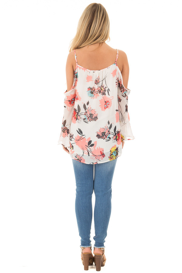 Ivory Floral Print with Swing Sleeve Cold Shoulder Top back full body
