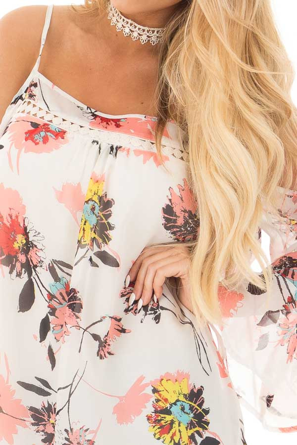 Ivory Floral Print with Swing Sleeve Cold Shoulder Top detail