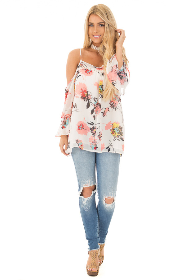 Ivory Floral Print with Swing Sleeve Cold Shoulder Top front full body