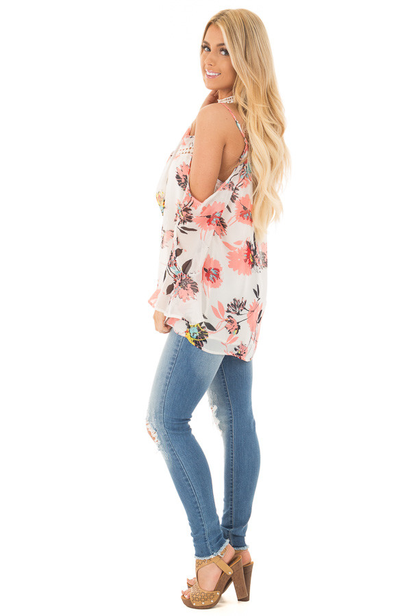 Ivory Floral Print with Swing Sleeve Cold Shoulder Top side full body