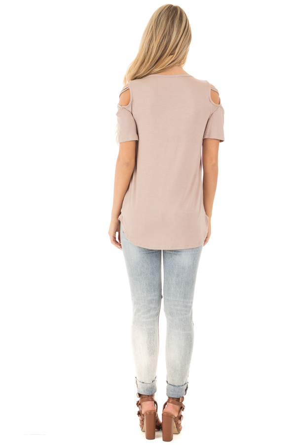 Mauve Cold Shoulder Tee with Criss Cross Detail back full body