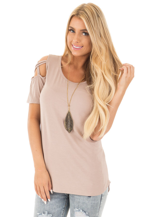 Mauve Cold Shoulder Tee with Criss Cross Detail front close up
