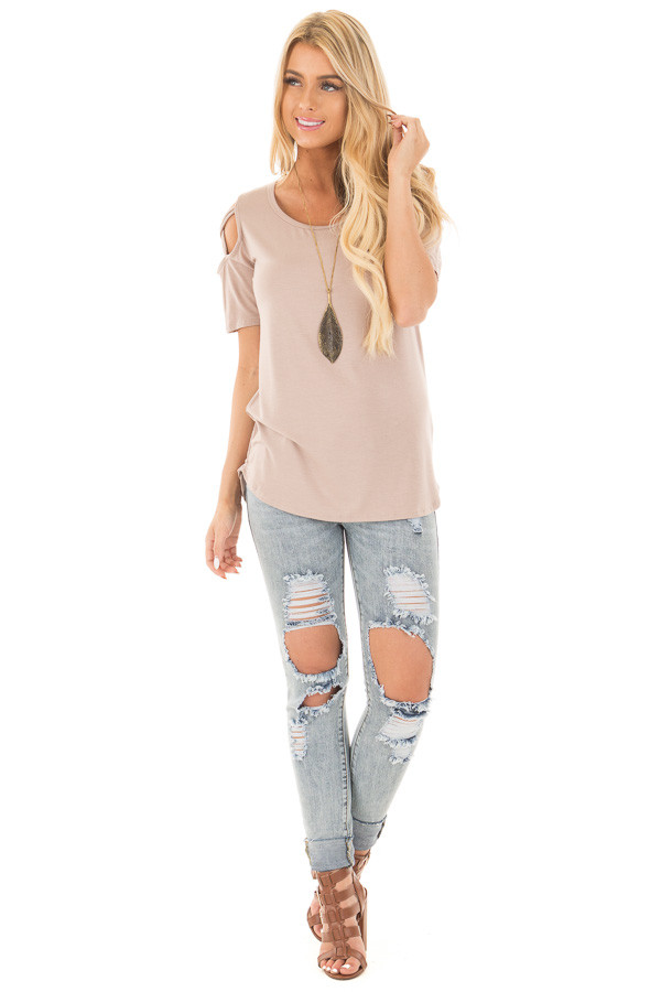 Mauve Cold Shoulder Tee with Criss Cross Detail front full body