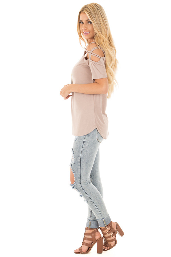 Mauve Cold Shoulder Tee with Criss Cross Detail side full body