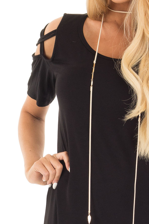 Black Cold Shoulder Tee with Criss Cross Detail detail