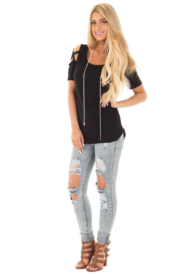 Black Cold Shoulder Tee with Criss Cross Detail front full body