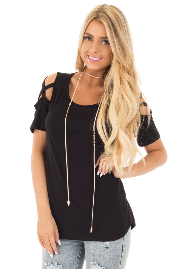 Black Cold Shoulder Tee with Criss Cross Detail front close up