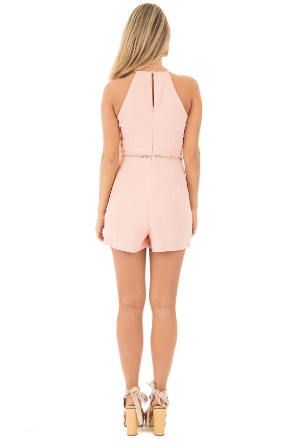Blush Embroidered Romper with Cut Out Details back full body