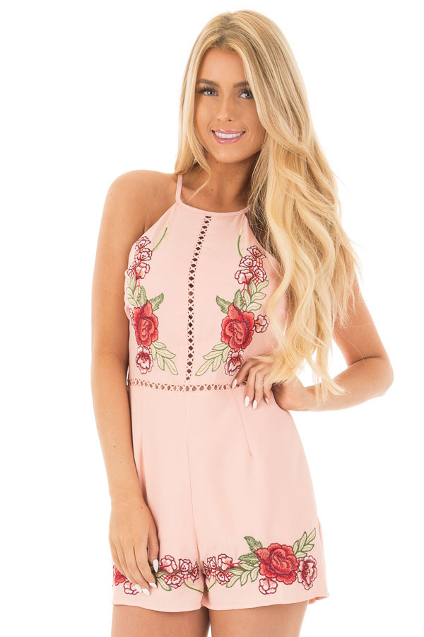 Blush Embroidered Romper with Cut Out Details front close up