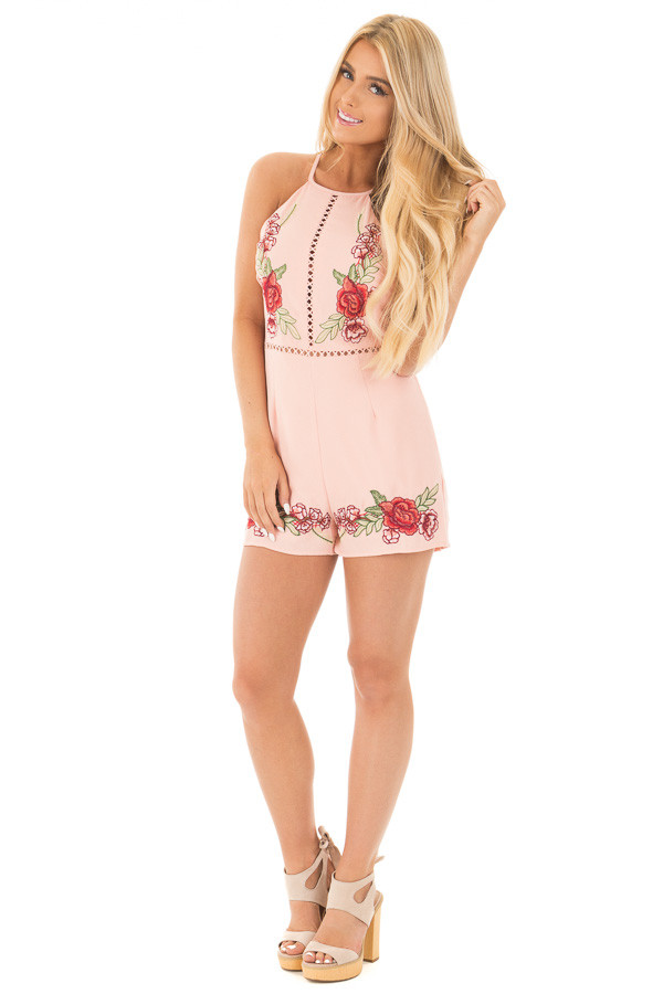 Blush Embroidered Romper with Cut Out Details front full body