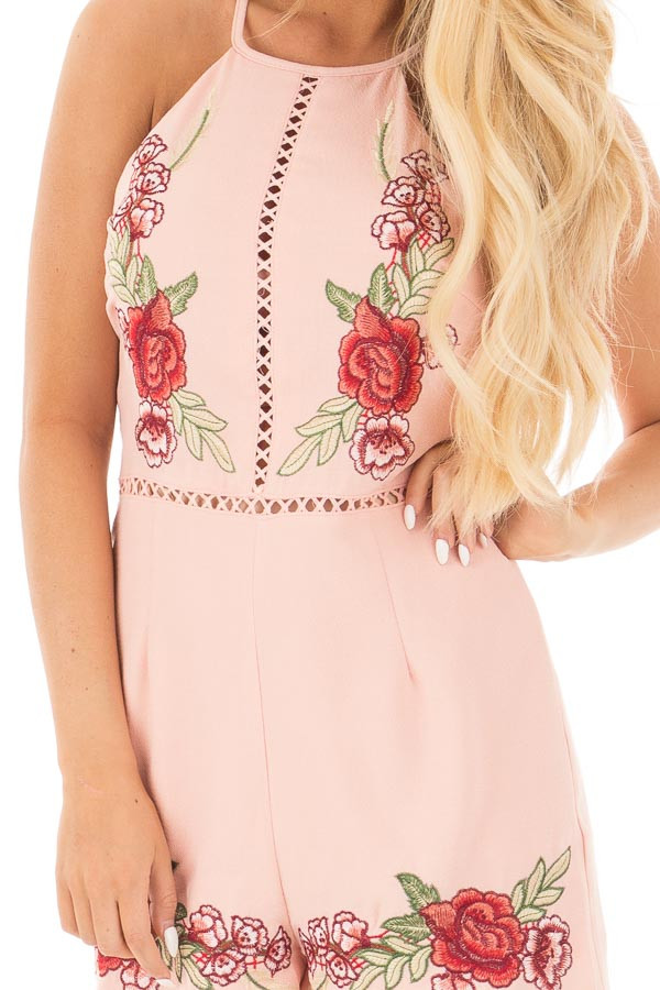Blush Embroidered Romper with Cut Out Details detail