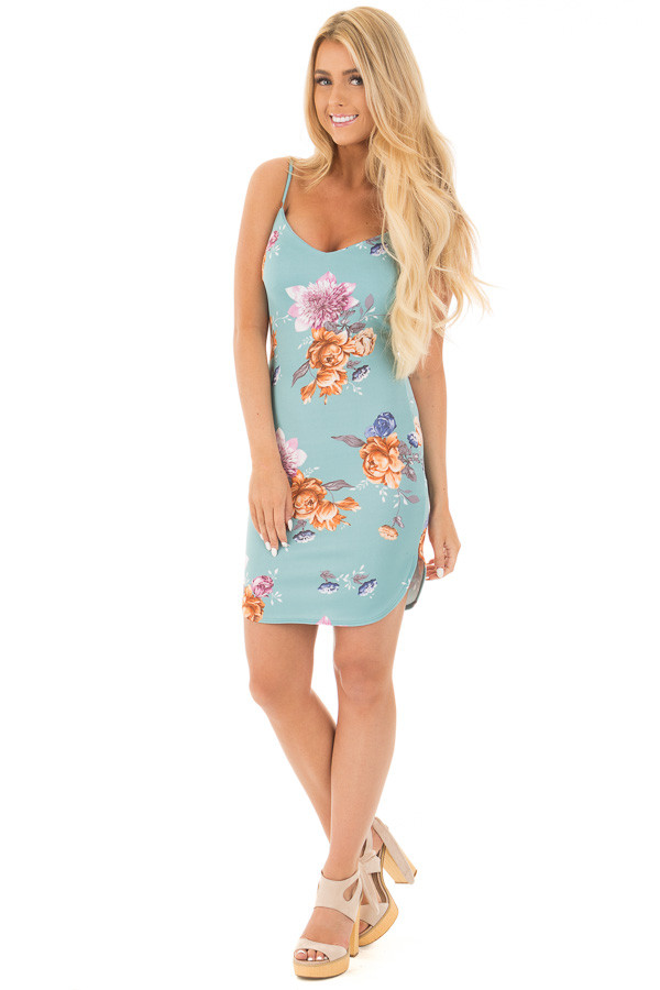 Aqua Floral Sweetheart Short Bodycon Dress front full body