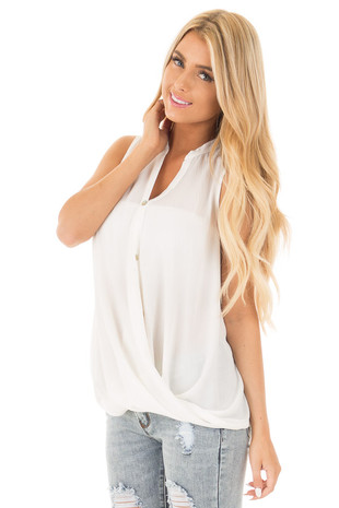 Ivory Button Up Sleeveless Top wth Bubble Bottom Detail front full body