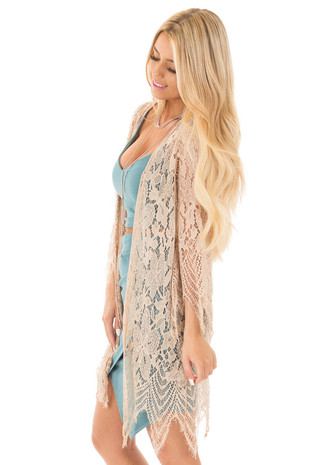 Taupe Long Sleeve Detailed Scalloped Lace Kimono side close up