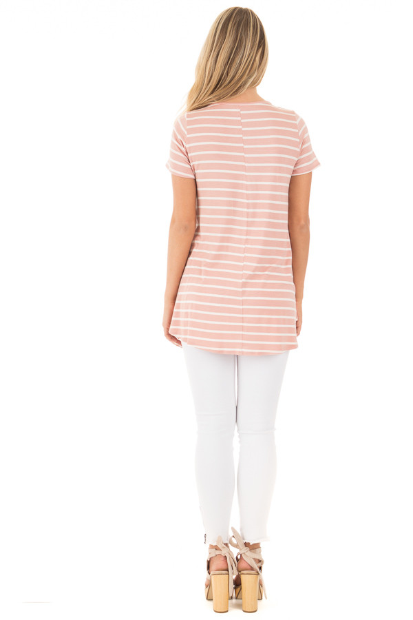 Blush and Ivory Striped Baby Doll Short Sleeve Tee back full body