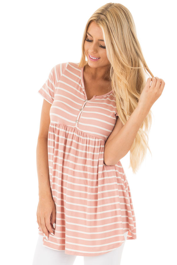 Blush and Ivory Striped Baby Doll Short Sleeve Tee front close up