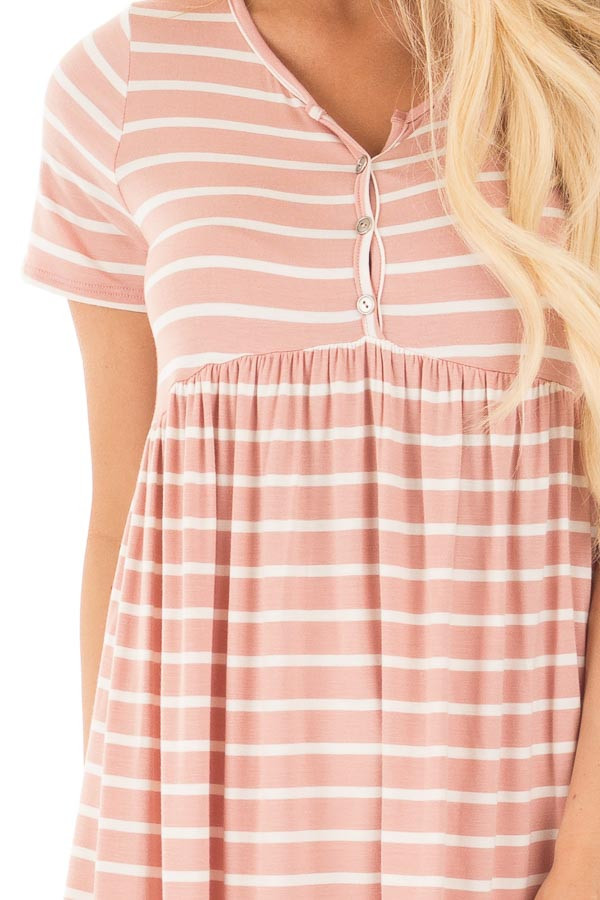 Blush and Ivory Striped Baby Doll Short Sleeve Tee detail