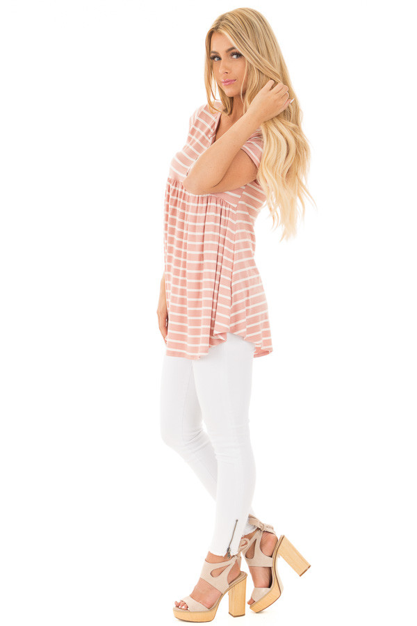 Blush and Ivory Striped Baby Doll Short Sleeve Tee side full body