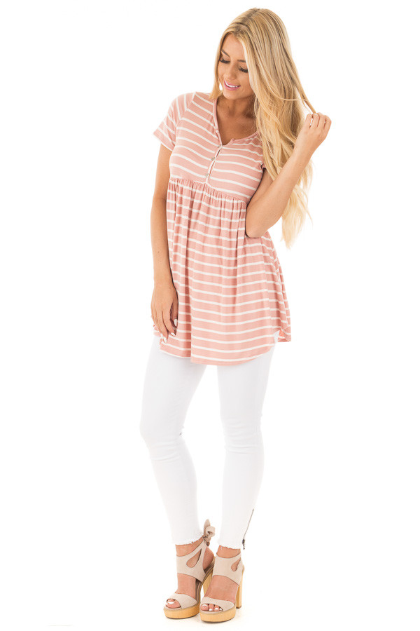 Blush and Ivory Striped Baby Doll Short Sleeve Tee front full body