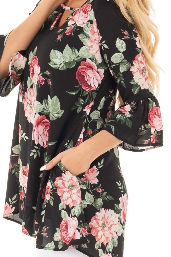 Black Floral Print Chiffon Tunic with Side Pockets detail