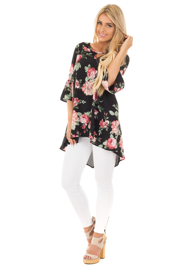 Black Floral Print Chiffon Tunic with Side Pockets front full body