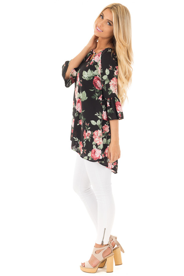 Black Floral Print Chiffon Tunic with Side Pockets side full body