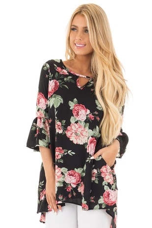 Black Floral Print Chiffon Tunic with Side Pockets front close up