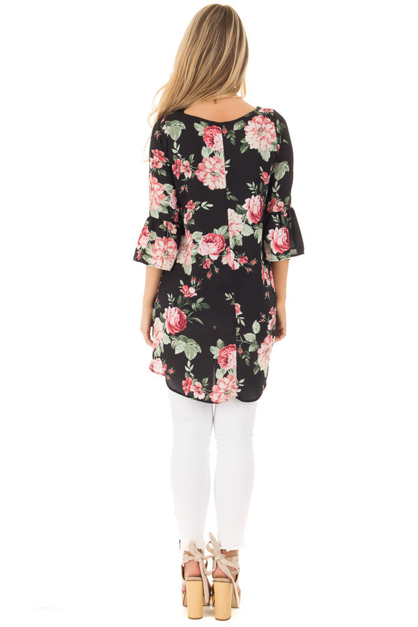 Black Floral Print Chiffon Tunic with Side Pockets back full body