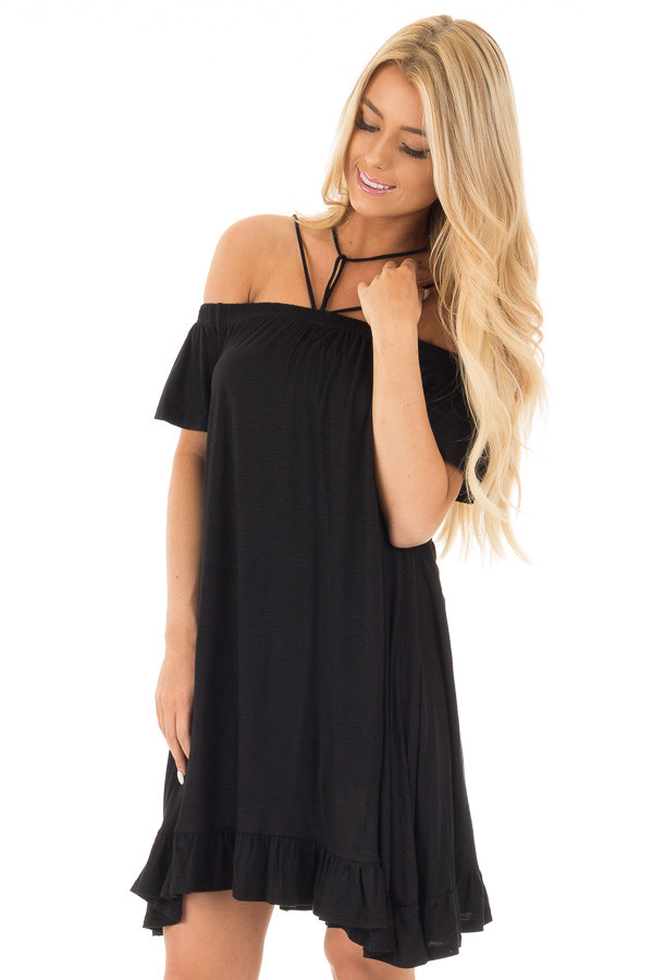 Black Jersey Knit Dress with Strappy Neckline Details front close up