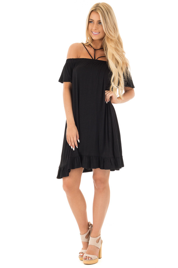 Black Jersey Knit Dress with Strappy Neckline Details front full body