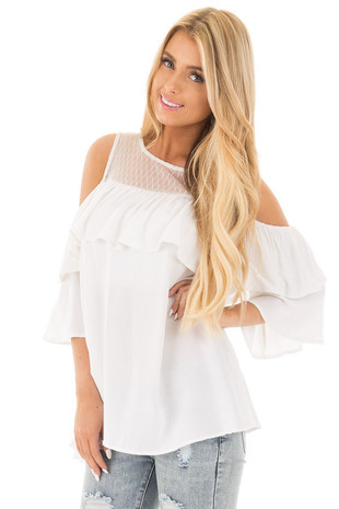 Off White Cold Shoulder Top with Ivory Sheer Yoke front close up