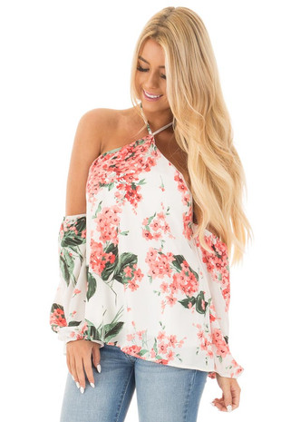 Off White and Coral Floral Print Chiffon Halter Top front close up