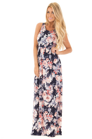 Navy and Blush Floral Racerback Slinky Maxi Dress front full body