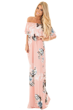 Blush Floral Off Shoulder Slinky Overlay Maxi Dress front full body